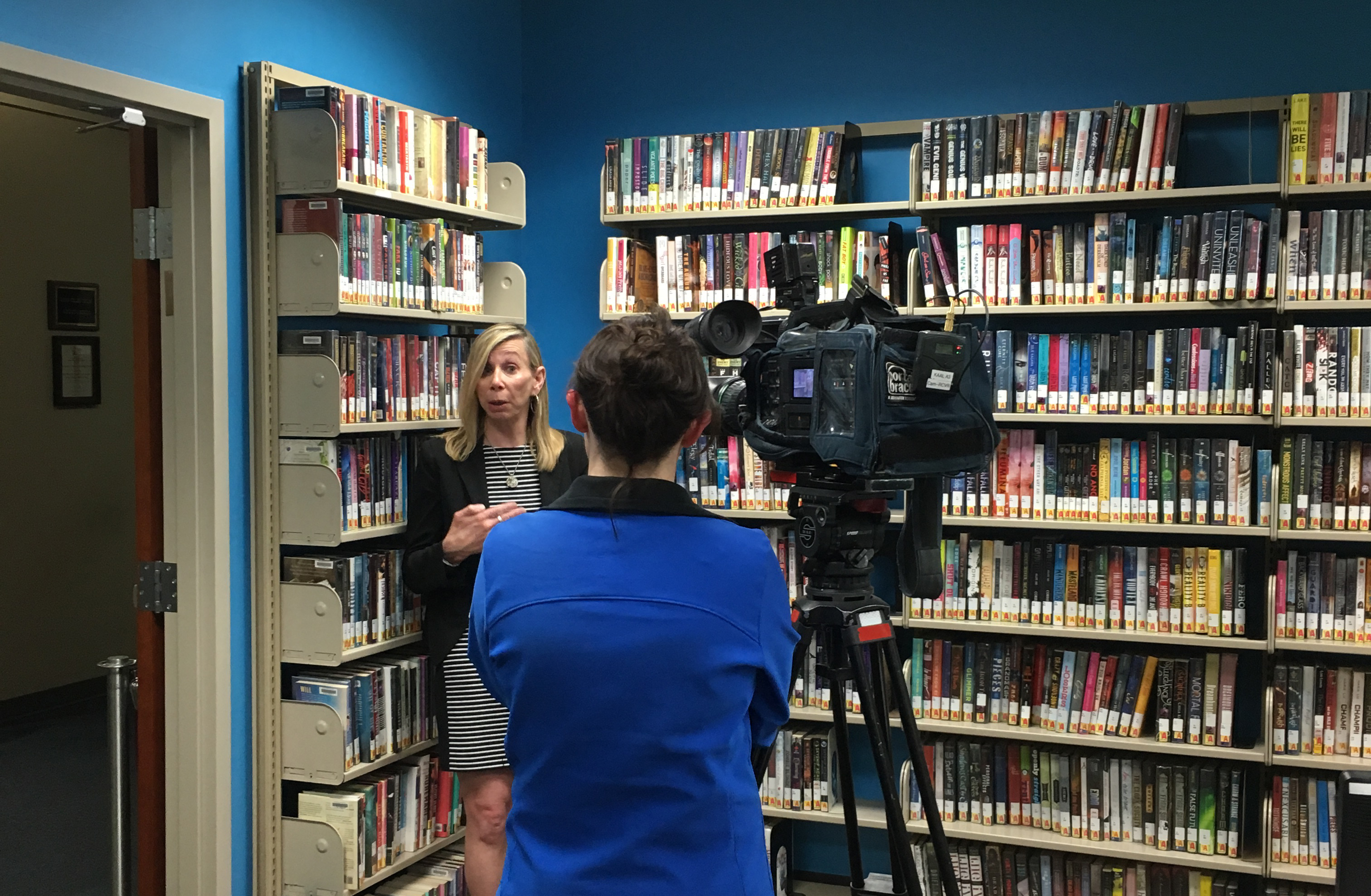 ellen krug being interviewed at the Rochester Public Library